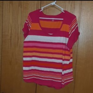 💜Striped short sleeve top